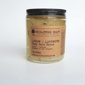 jar of lemon and lavender body scrub